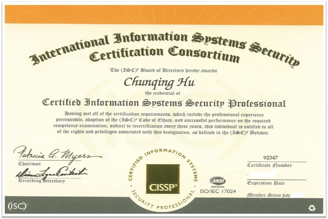 嘉和国际,其他经国际认证的高端专业资质证书 /Other International Recognized Hi-Profile Certificates