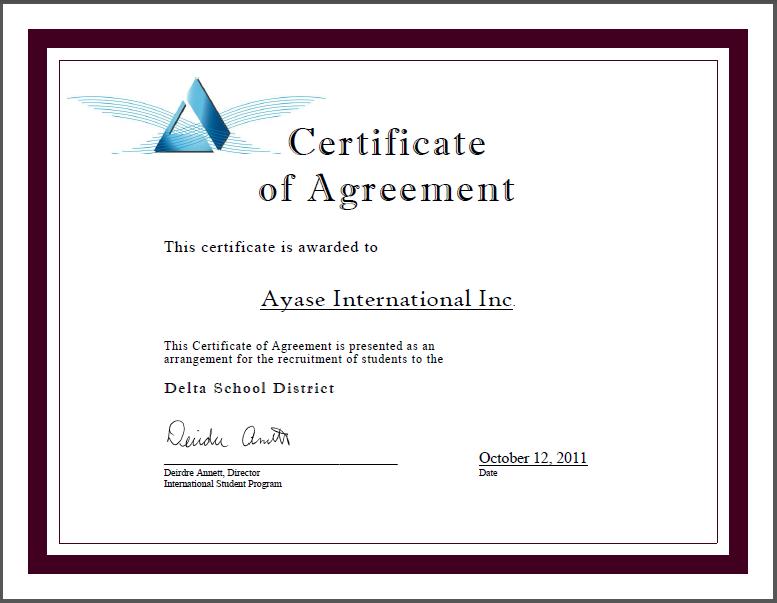 Delta School District学区/Ayase International Inc. 代理招生证书