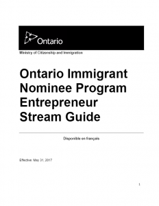 Ontario Immigrant Nominee Program Entrepreneur Stream Guide